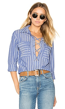 Knox Lace Up Blouse in Riviera-Blau & Naturweiß