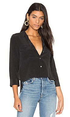 Cropped Signature Button Up in True Black
