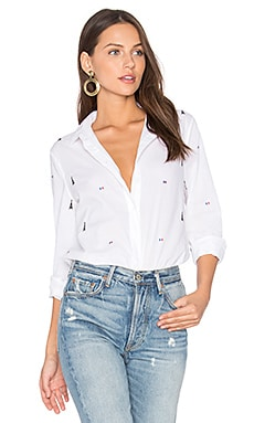 Leema Parisian Button Up in Bright White Multi