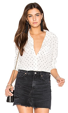 Kate Moss for Equipment Brett Polka Dot Button Up in Nature White & True Black