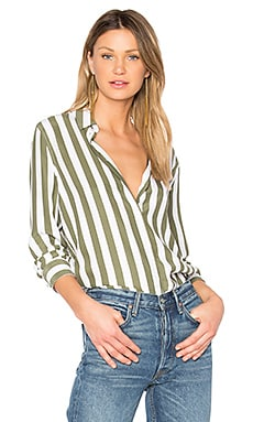 Essential Striped Button Up in Bright White & Four Leaf Clover
