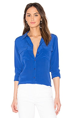 Slim Signature Silk Button Up in Riviera Blue