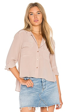 Cropped Signature Button Up in Rose Smoke
