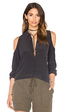 Nixie Open Shoulder Blouse in True Black