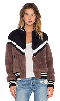 Essentiel Keegan Faux Fur Jacket in Black & Brown