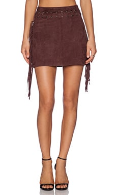 Essentiel Antwerp Antwerp Fringes Suede Mini Skirt in Brown
