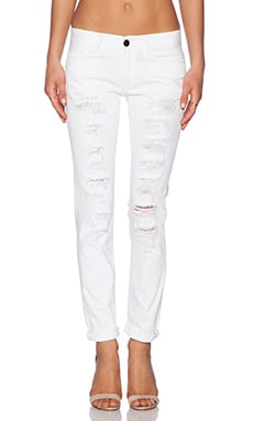 Etienne Marcel Distressed Boyfriend Jean in White