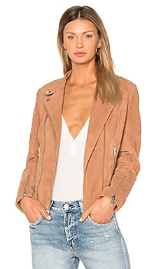 Suede Moto Jacket in Tan