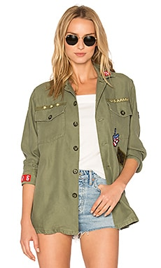 Patch Shirt Jacket in Army-Style