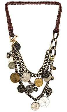 Ettika Leather Draped Necklace in Brass