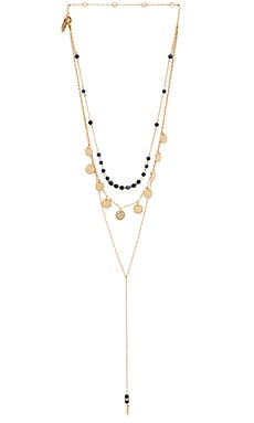 Ettika Disc Layered Lariat Necklace in Blue & Gold