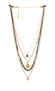 Ettika Multi Layered Necklace in Plum