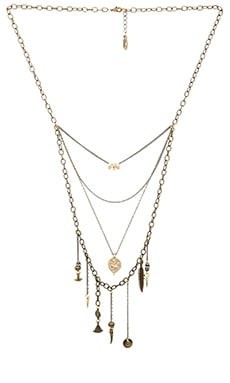 Ettika Multi Layered Charm Necklace in Brass