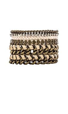 Ettika Friendship Bracelet Stack in Cream & Brass