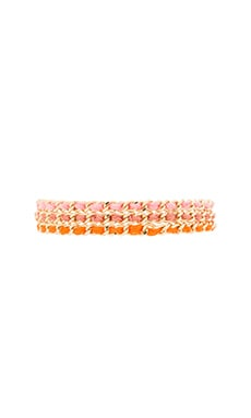 Ettika 3 Chain Braided Friendship Bracelet in Gold, Pink & Brown Gold