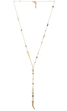 Ettika Evil Eye Beaded Lariat Necklace in Gold & Amethyst