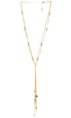 Ettika Beaded Lariat Chain Necklace in Gold & Turquoise