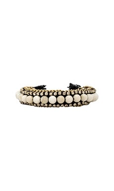 Ettika Beaded Friendship Bracelet in Gold, White & Black