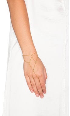 Ettika Hand Chain With Bezels in Gold