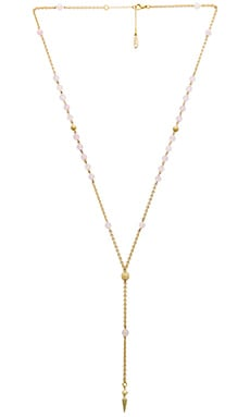 Ettika Rose Quartz Beaded Lariat in Rose