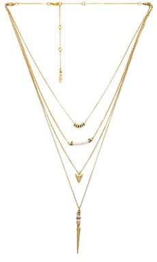 Ettika Layered Charm Necklace in Cream & Gold