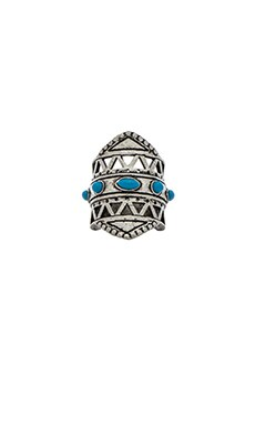 Ettika Tribal Ring With Turquoise in Silver & Turquoise