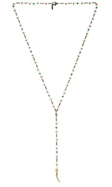 Ettika Beaded Lariat Horn Necklace in Gold & Turquoise