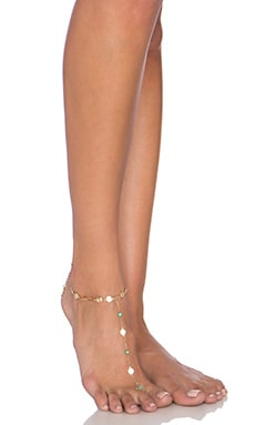 Ettika Foot Chain in Gold & Turquoise