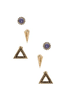 Ettika Earring Set in Brass & Opal