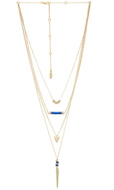 Ettika Layered Charm Necklace en Doré & Bleu