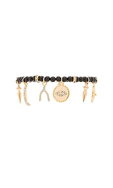Ettika Beaded Charm Bracelet in Black & Gold