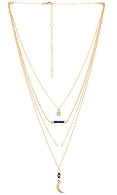 Ettika Layered Charm Necklace in Blue & Gold