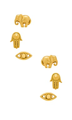 Ettika Set Of Three Charm Earrings in Gold