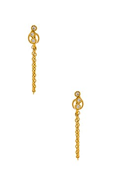 Ettika Dainty Crystal & Chain Earring in Gold