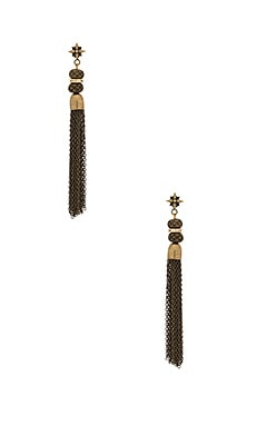 Ettika Chain Tassel Earring in Brass
