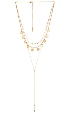 Ettika Layered Beaded Disc lariat Necklace in Gold & Opal