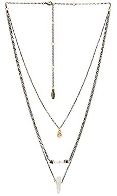 Ettika Multi Layered Beaded Charm Necklace in Brass & Gold