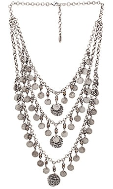 Ettika Multi Layered Coin Necklace in Silver & Smoky Quartz