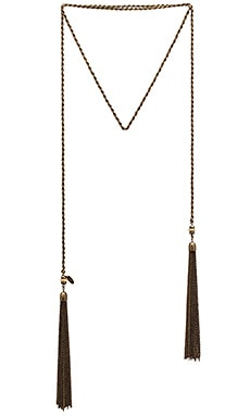 Ettika Scarf Fringe Necklace in Brass & Garnet