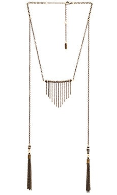 Ettika Layered Fringe Bib Necklace in Brass & Pyrite