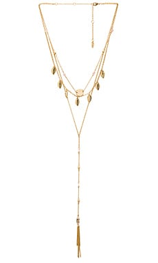 Ettika Fringe Layered Charm Necklace in Gold & Rose