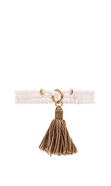 Ettika Beaded Wrap Bracelet in White & Tan