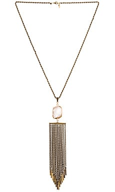 Ettika Stone Fringe Necklace in Brass