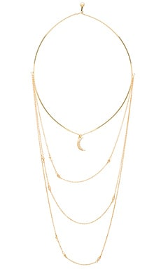 Ettika Moon Charm Layered Necklace in Gold