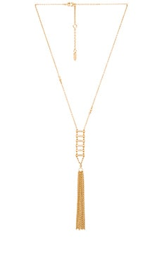 Ettika Pave Ladder Bar & Fringe Necklace in Gold