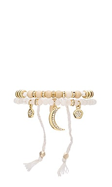 Beaded Friendship Bracelet & Charms Set in White & Gold