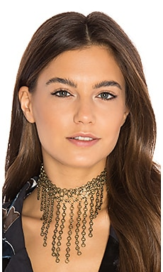 Cascading Chain Link Choker in Brass