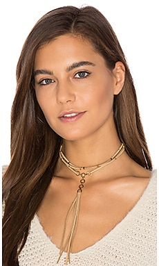 Suede Role Player Necklace en Tan & Or