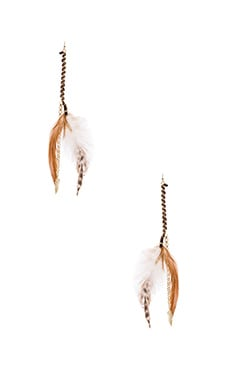 Ettika Feather Earring in Brown & Gold
