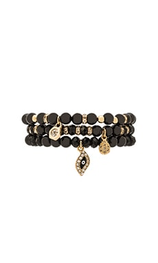 Set of 3 Bracelets in Black & Gold